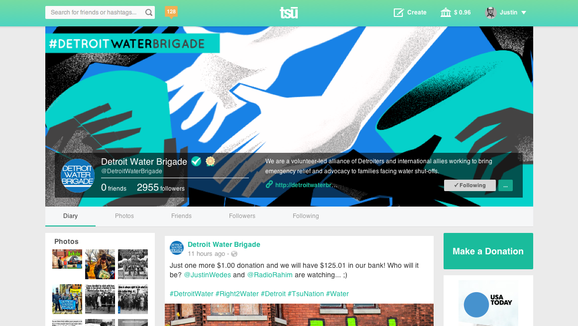The Detroit Water Brigade's profile page on new social network Tsu.