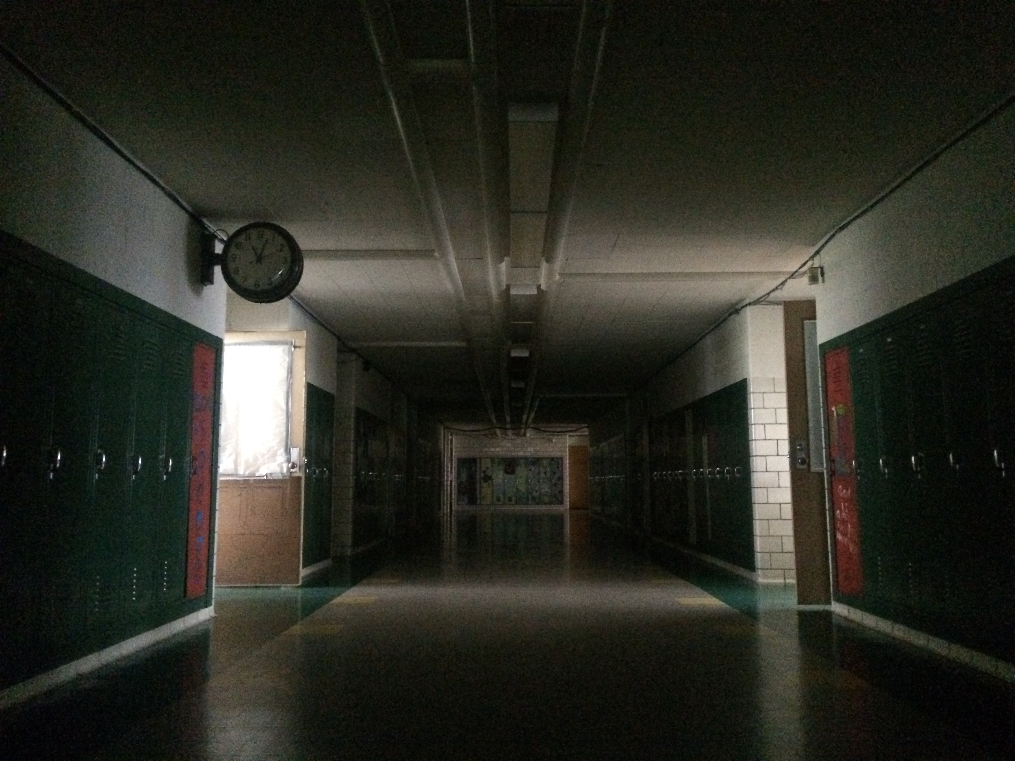 The hallways of the House of Help without electricity.