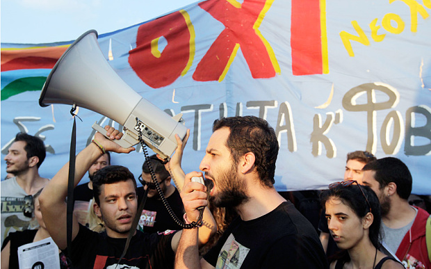 "Photo: Greeks Rally to Say No (""Oxi"", pronounced Oh-key) to the European Central Bank's Debt Deal - Telegraph.co.uk"