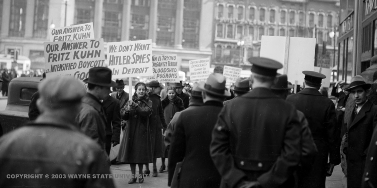 "Photo: Jews in Detroit protest against Fritz Kuhn, Nazi sympathizer dubbed the ""American fuehrer"", circa 1930"
